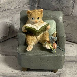 Cat In Chair Figurine Reading Book to Mouse